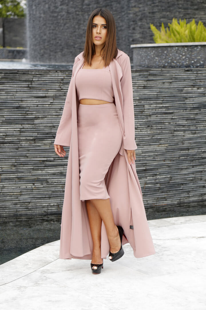 Long Skirt w Dusty Rose Duster