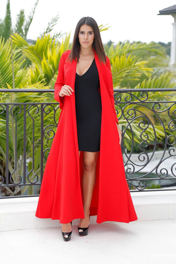 Mini Dress Black w Red Duster