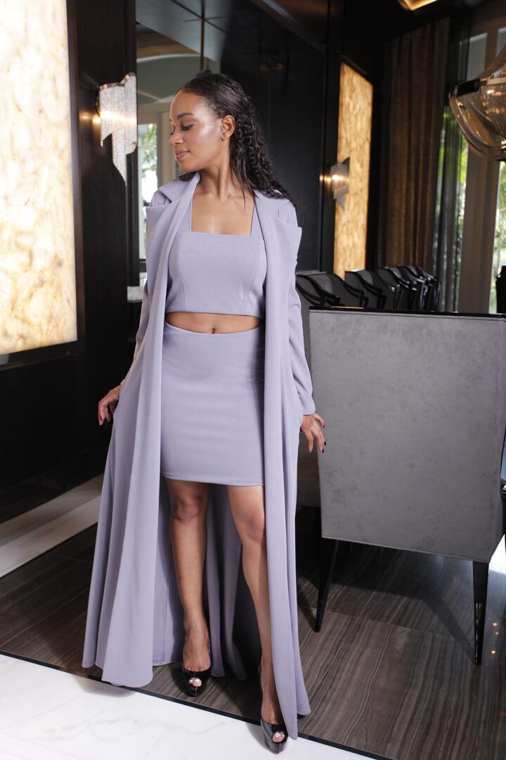 Mini Skirt Lavender w Royal Duster Lavender